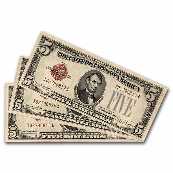 1928 $5.00 U.S. Note Red Seal GEM CU (Fr#1525) 3 Consecutive