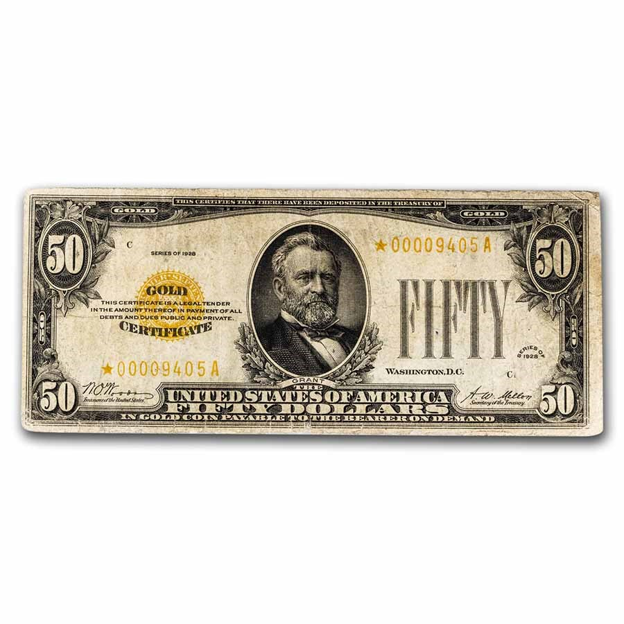 1928* $50 Gold Certificate Fine (Fr#2404) Star Note