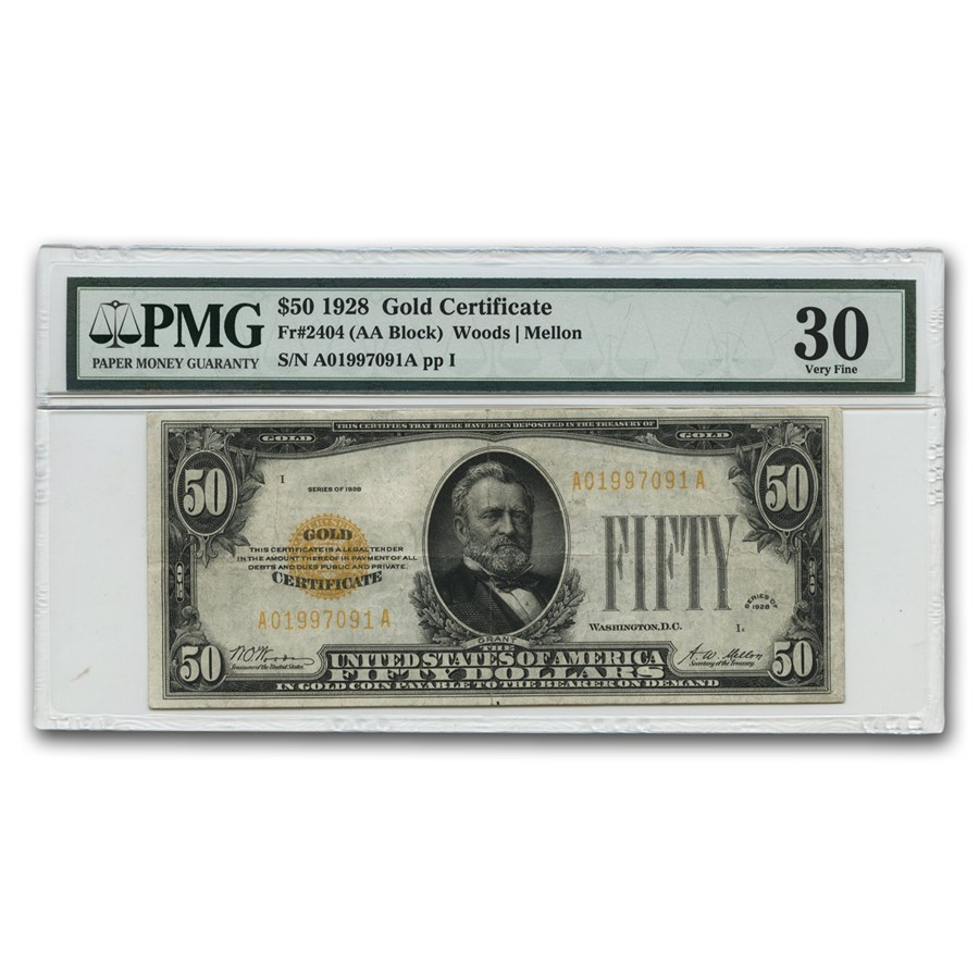1928 $50 Gold Certificate VF-30 PMG