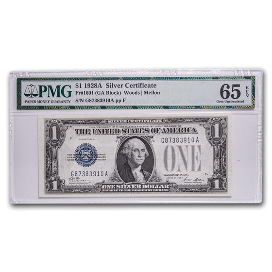 1928-A $1.00 Silver Certificate Gem Unc-65 EPQ PMG