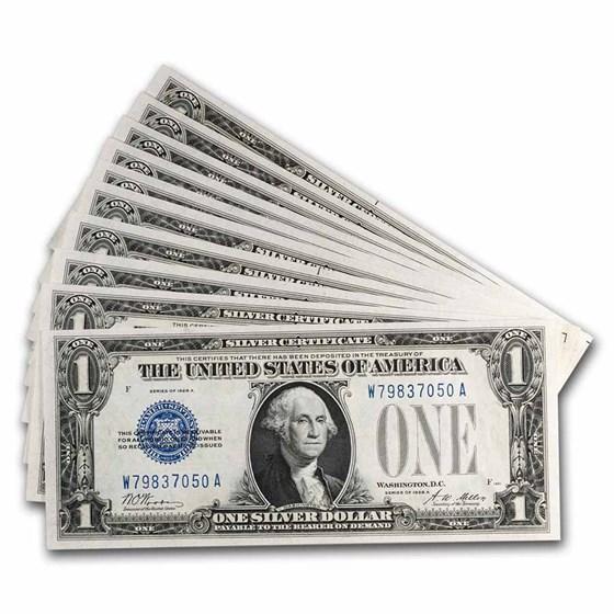 1928-A $1.00 Silver Certificates CU (Fr#1601) 10 Consecutive