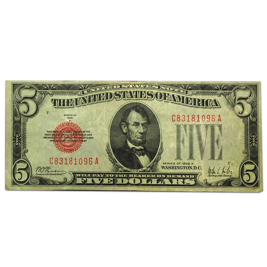 1928-A $5.00 U.S. Note Red Seal VF (Fr#1526)