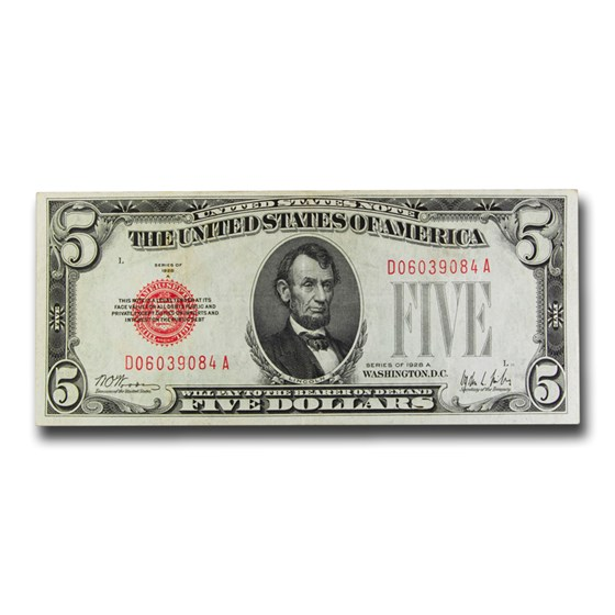 1928-A $5.00 U.S. Note Red Seal XF (Fr#1526)