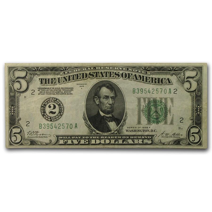 1928-A (B-New York) $5.00 FRN VF+