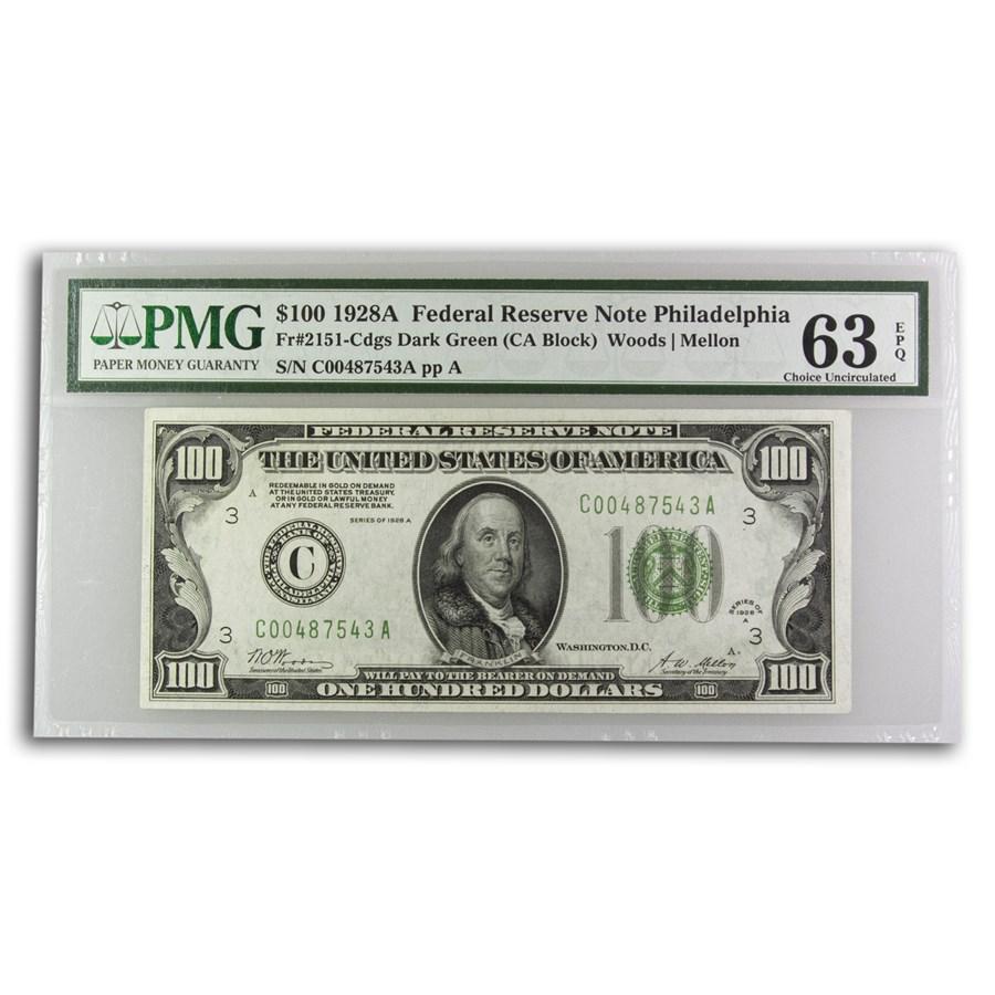 1928-A (C-Philiadelphia) $100 FRN Ch CU-63 EPQ PMG (Fr#2151-C)