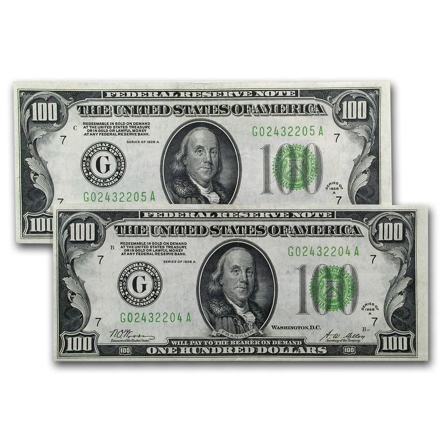 1928-A (G-Chicago) $100 FRN AU (Consecutive Pair)