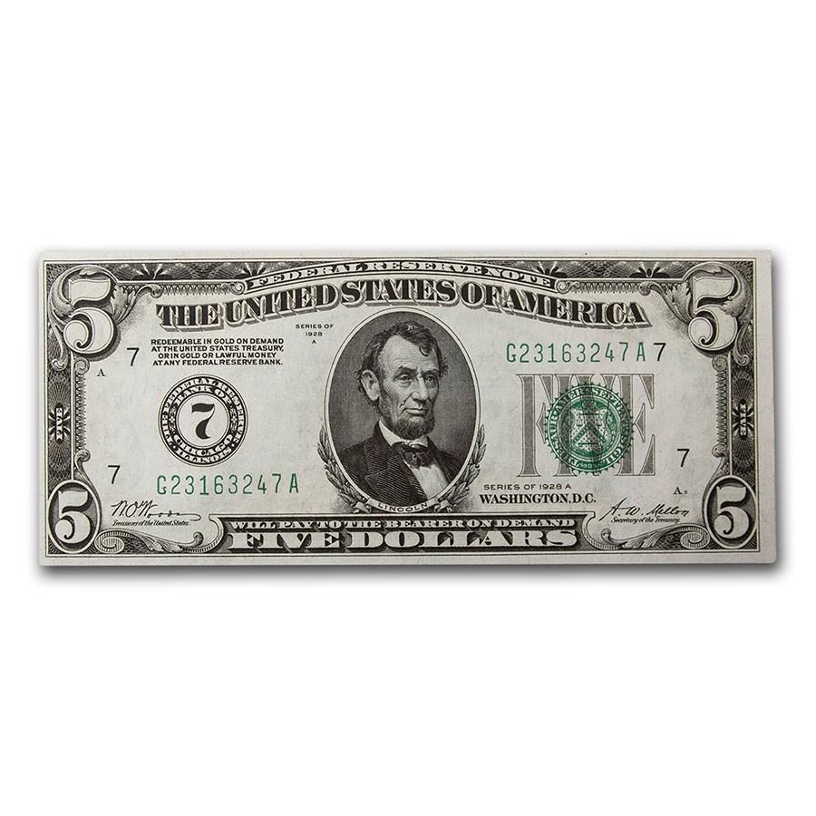 1928-A (G-Chicago) $5.00 FRN CCU (Fr#1951-G)