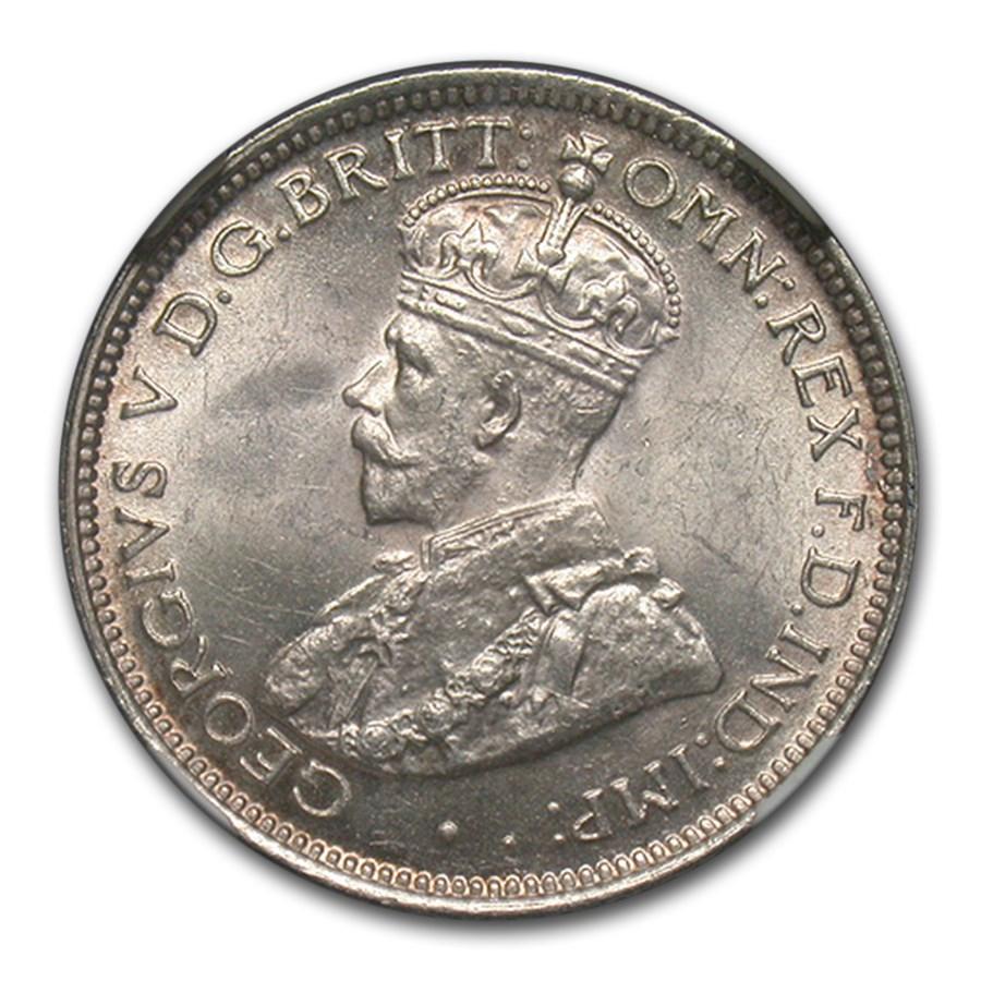 1928 Australia Silver 6 Pence George V MS-64 NGC