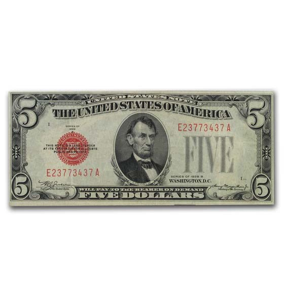 1928-B $5.00 U.S. Note Red Seal XF (Fr#1527)