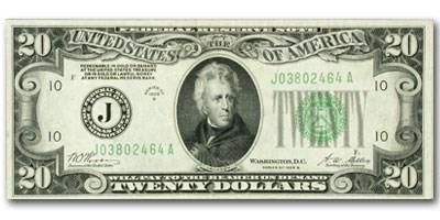 1928-B (J-Kansas City) $20 FRN AU
