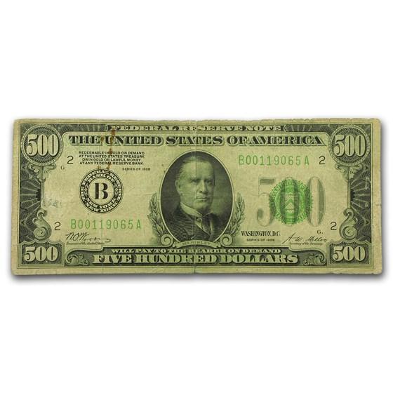 1928 (B-New York) $500 FRN Fine Details