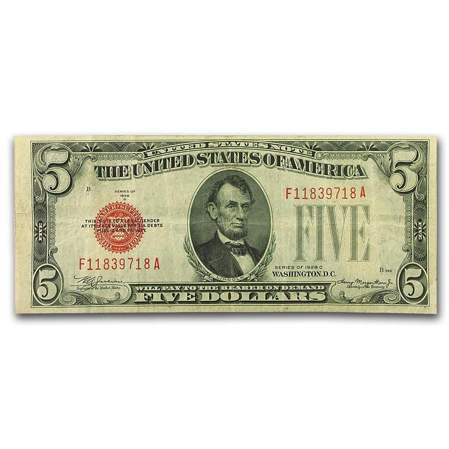1928-C $5.00 U.S. Note Red Seal Fine (Fr#1528)