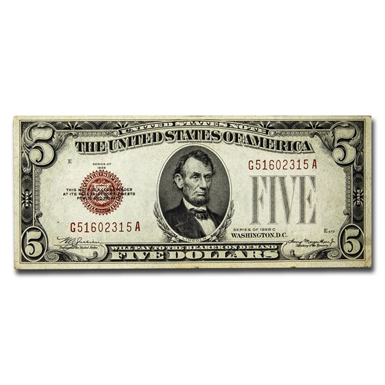 1928-C $5.00 U.S. Note Red Seal VF (Details)