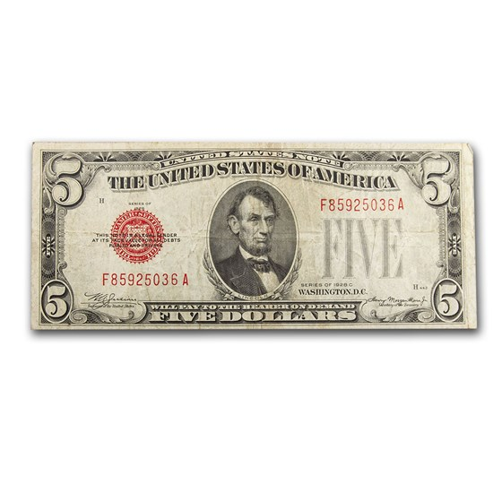 1928-C $5.00 U.S. Note Red Seal VF (Fr#1528)