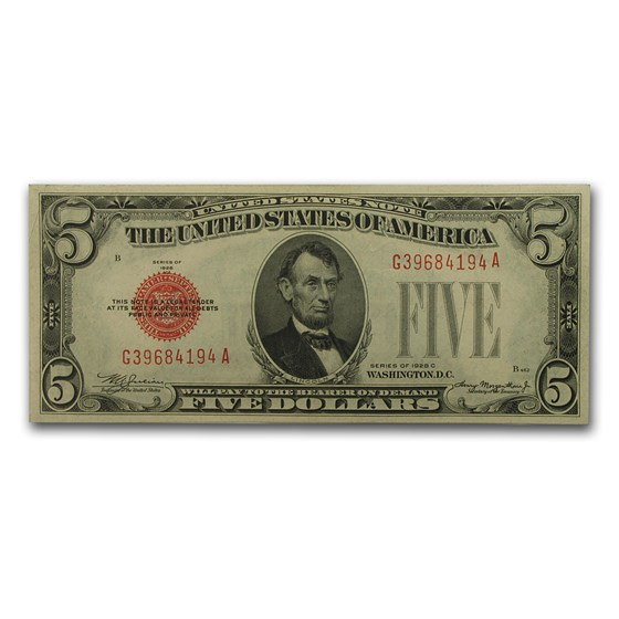 1928-C $5.00 U.S. Note Red Seal XF (Fr#1528)