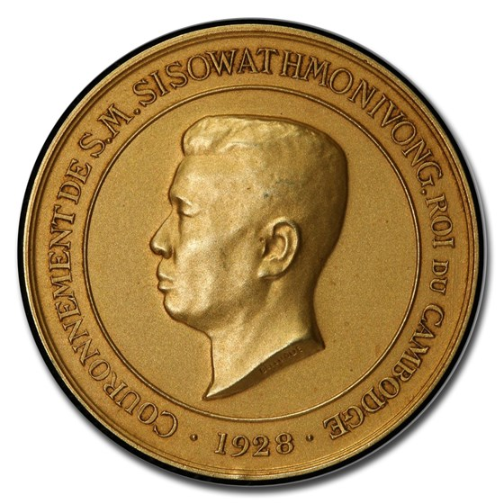 1928 Cambodia Gold Medal Sisowath Monivong SP-65 PCGS (Matte)