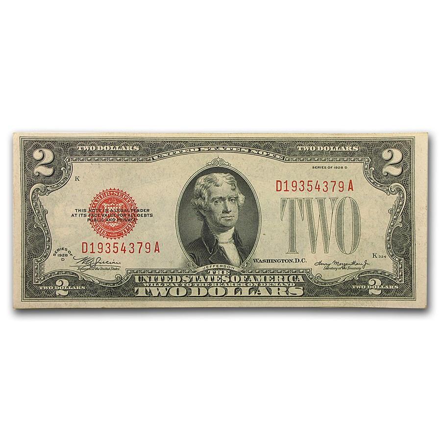 1928-D $2.00 U.S. Note Red Seal AU (Fr#1505)