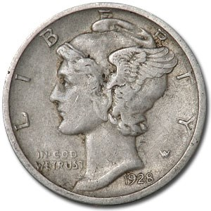 1928-D Mercury Dime XF