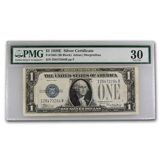1928-E $1.00 Silver Certificate VF-30 PMG (Fr#1605)