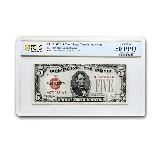 1928-E* $5.00 U.S. Note AU-50 PPQ PCGS (Fr#1530*) Star Note