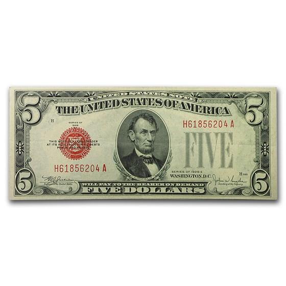 1928-E $5.00 U.S. Note Red Seal AU (Fr#1530)