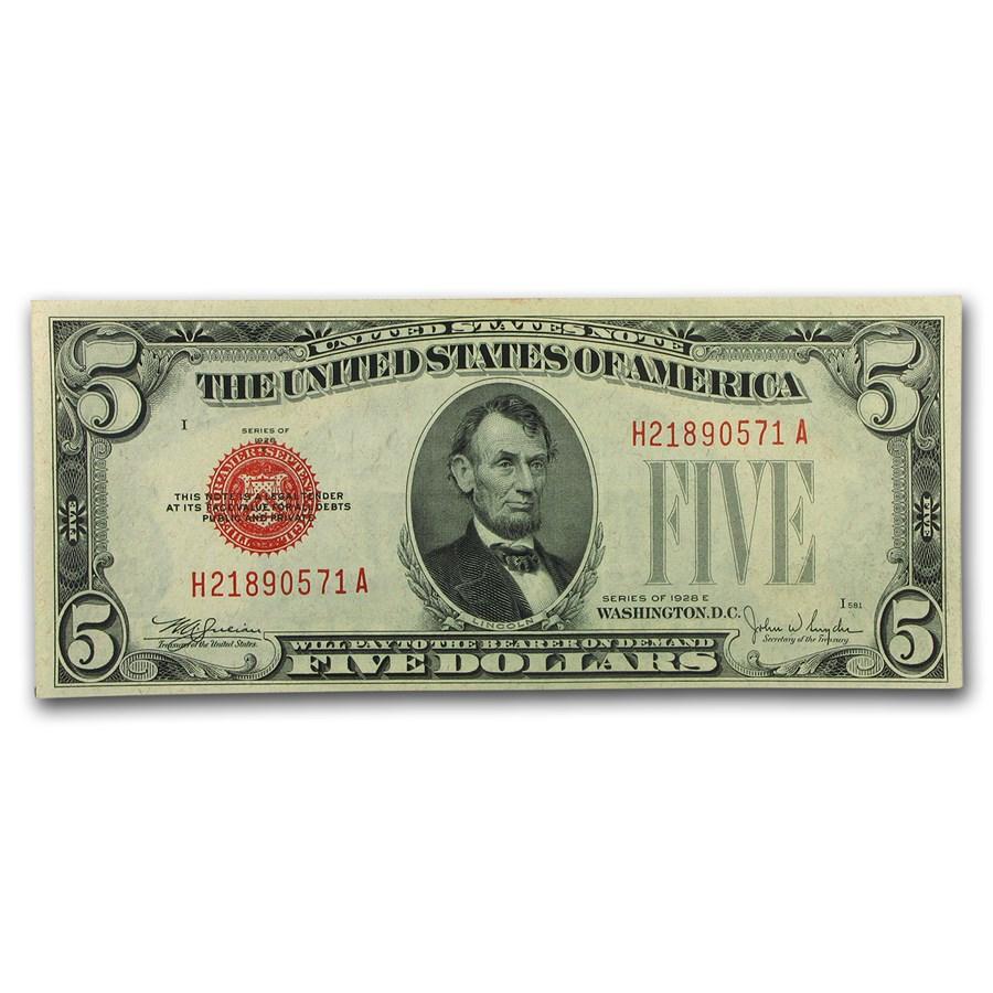 1928-E $5.00 U.S. Note Red Seal CU (Fr#1530)