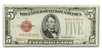 1928-E $5.00 U.S. Note Red Seal VF (Fr#1530)