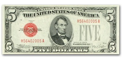 1928-E $5.00 U.S. Note Red Seal XF (Fr#1530)