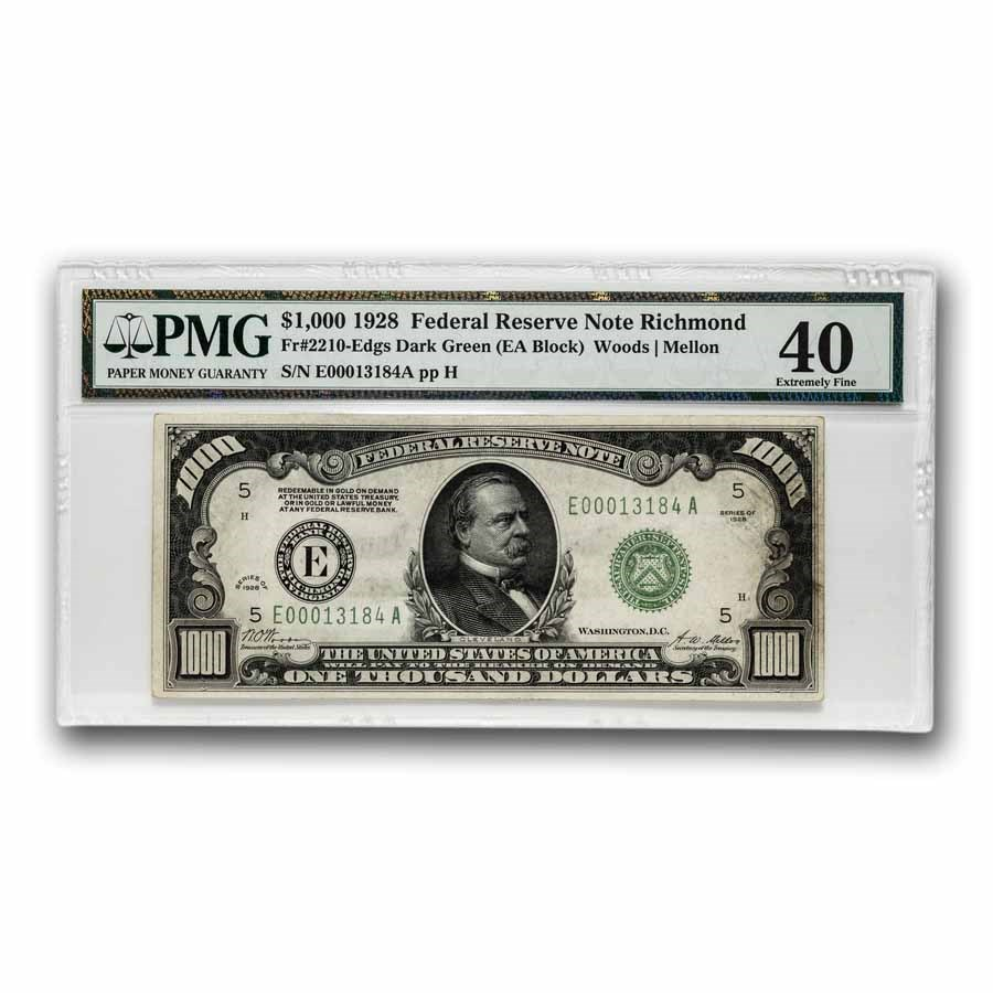 1928 (E-Richmond) $1,000 FRN XF-40 PMG (Fr#2210-E)