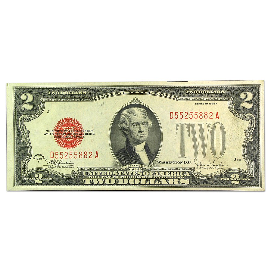 1928-F $2.00 U.S. Note Red Seal AU (Fr#1507)