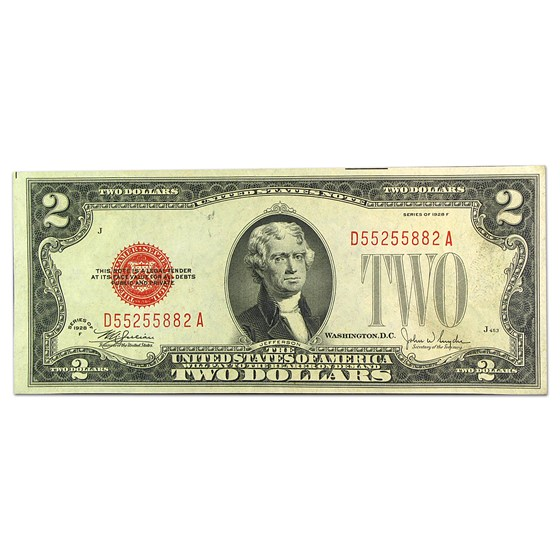 1928-F $2.00 U.S. Note Red Seal AU