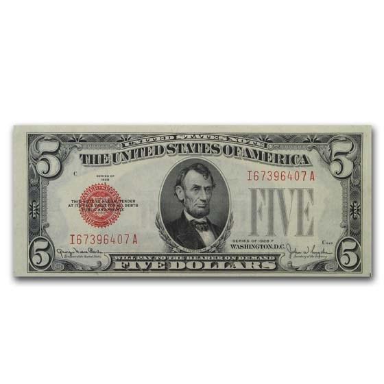 1928-F $5.00 U.S. Note Red Seal AU (Fr#1531)