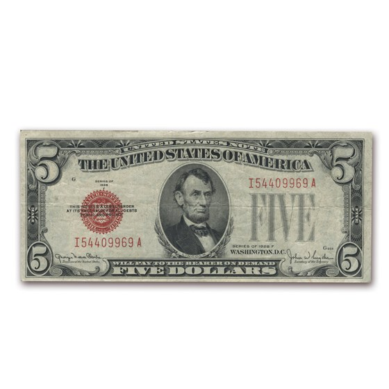 1928-F $5.00 U.S. Note Red Seal Fine (Fr#1531)