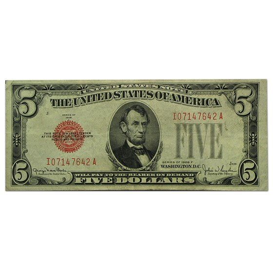1928-F $5.00 U.S. Note Red Seal XF (Fr#1531)