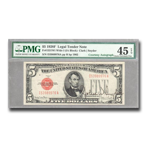1928-F $5 U.S. Note Red Seal XF-45 EPQ PMG (Fr#1531) Autograph
