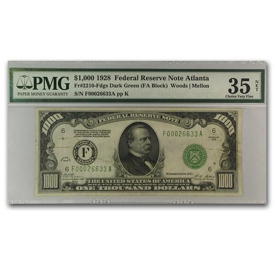 1928 (F-Atlanta) $1,000 FRN Ch VF -35 Net PMG