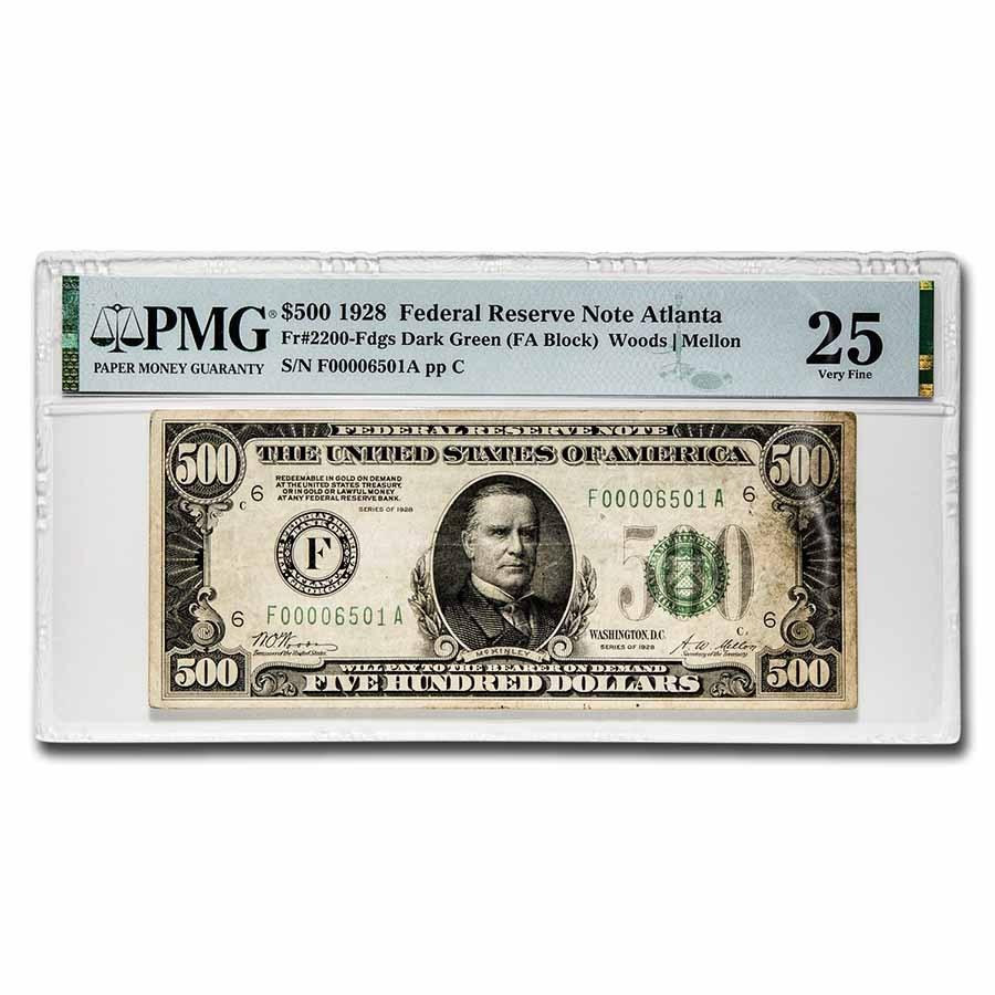 1928 (F-Atlanta) $500 FRN VF-25 PMG (Fr#2200-F)