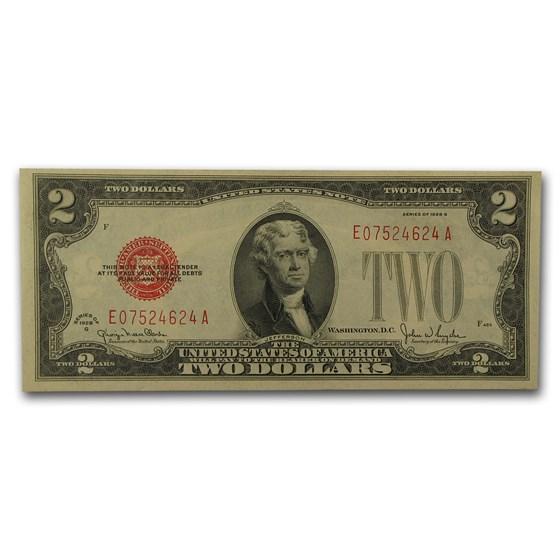 1928-G $2.00 U.S. Note Red Seal AU (Fr#1508)