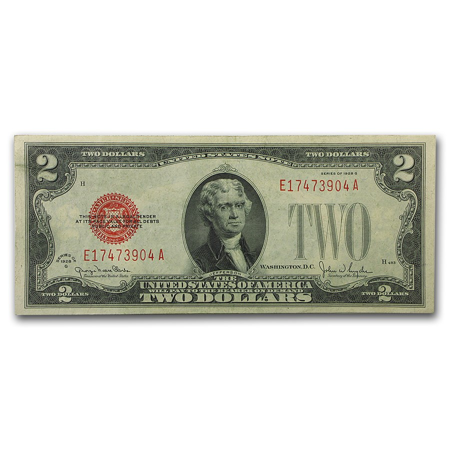 1928-G $2.00 U.S. Note Red Seal XF (Fr#1508)