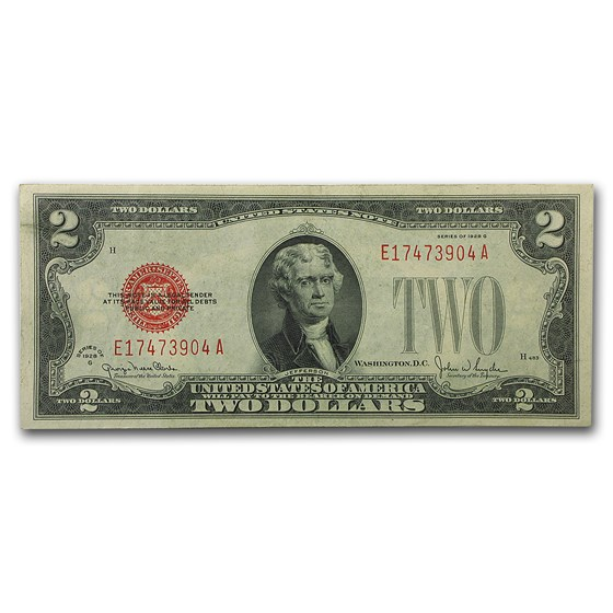 1928-G $2.00 U.S. Note Red Seal XF
