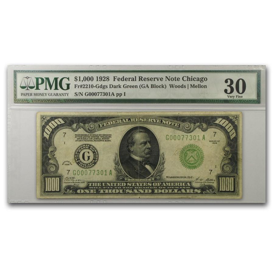 1928 (G-Chicago) $1,000 FRN VF-30 PMG