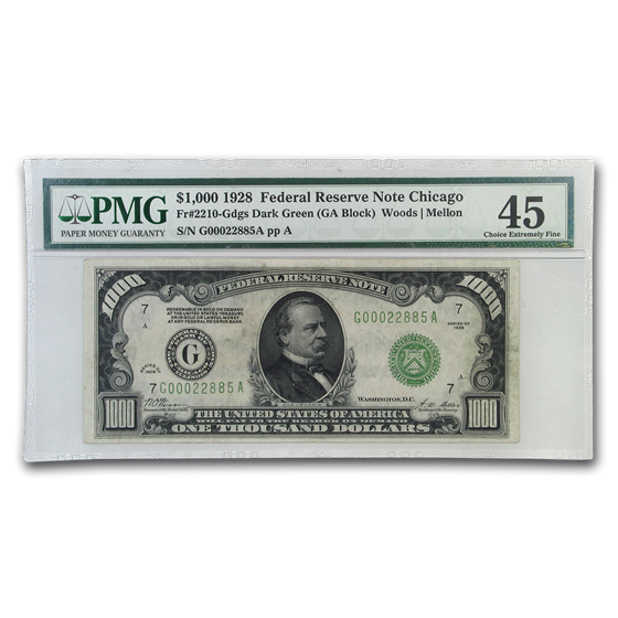 1928 (G-Chicago) $1,000 FRN XF-45 PMG