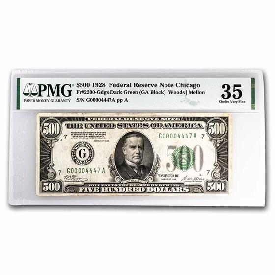 1928 (G-Chicago) $500 FRN VF-35 PMG (Fr#2200-G)Minor Ink
