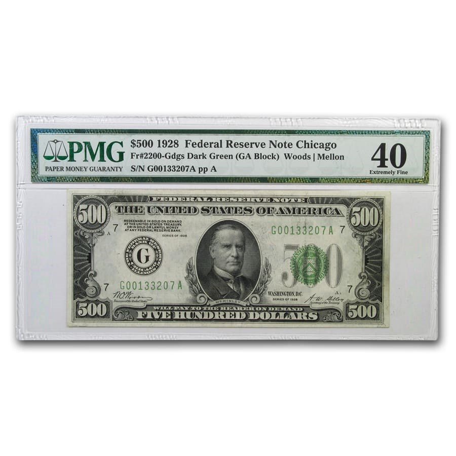 1928 (G-Chicago) $500 FRN XF-40 PMG (Dark Green Seal)