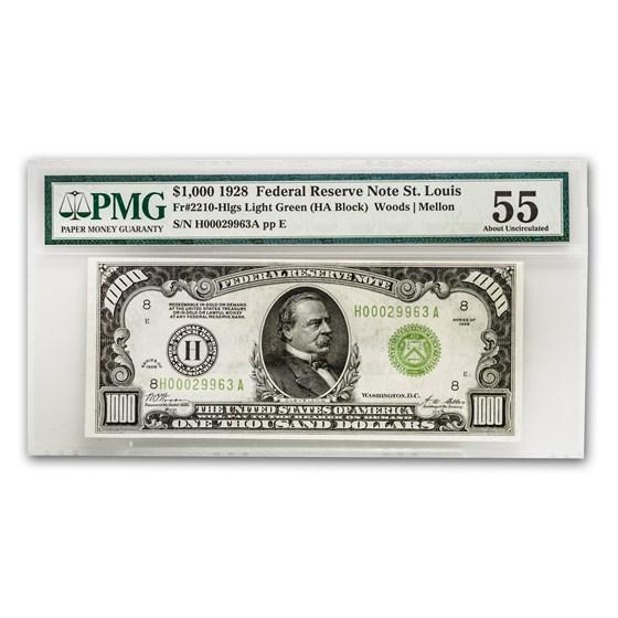 1928 (H-St. Louis) $1,000 FRN AU-55 PMG
