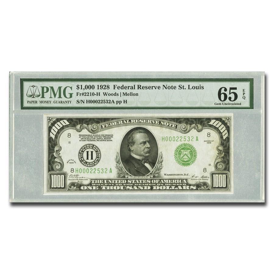 1928 (H-St. Louis) $1,000 FRN CU-65 EPQ PMG