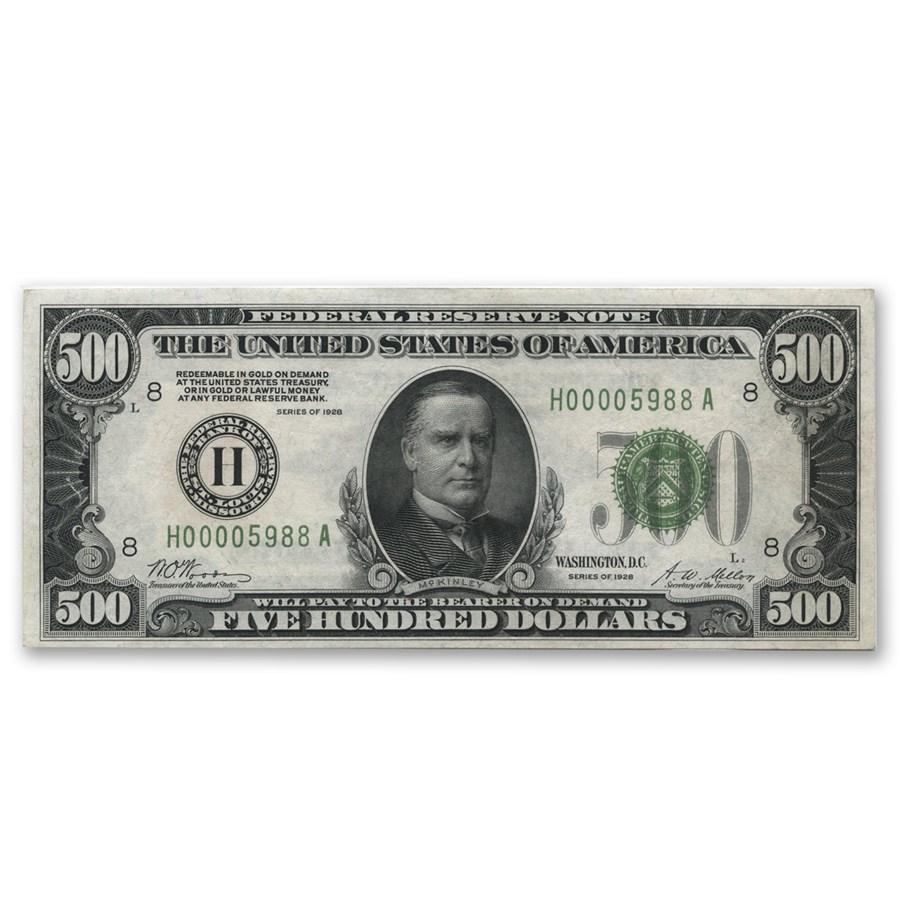 1928 (H-St. Louis) $500 FRN AU