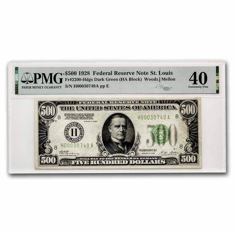 1928 (H-St. Louis) $500 FRN Ch XF-40 PMG