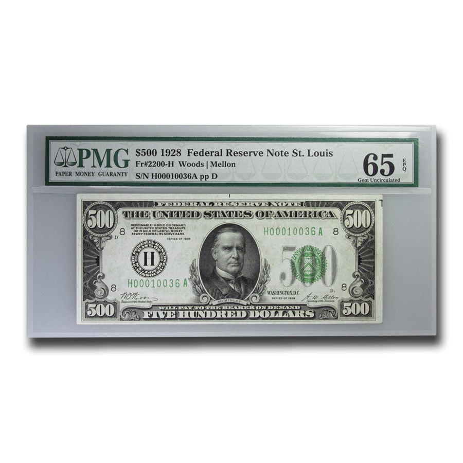 1928 (H-St. Louis) $500 FRN Gem CU-65 EPQ PMG