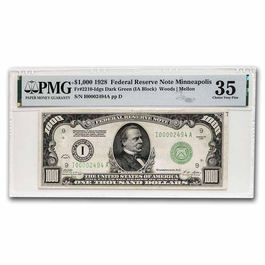 1928 (I-Minneapolis) $1,000 FRN CH VF-35 PMG (Fr#2210-I)